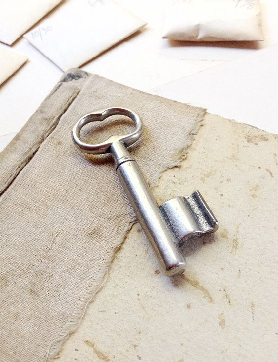 Silver Vintage Door Key   Chunky Cast Key by MyVintageSupplies
