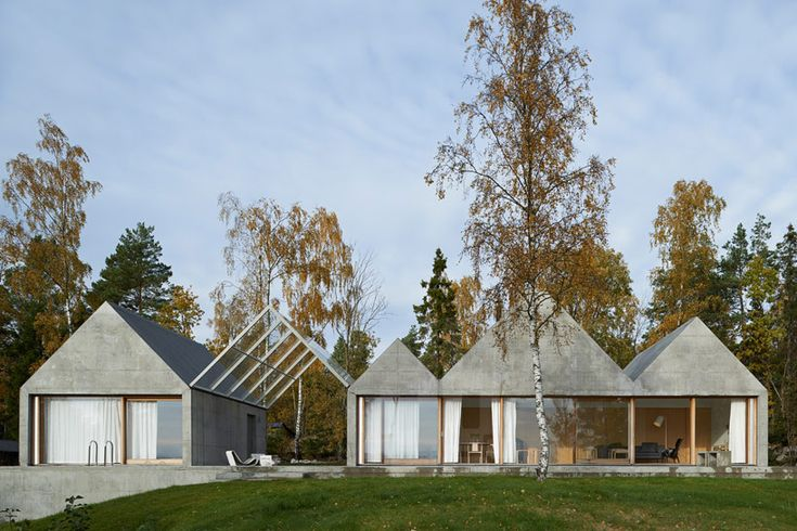 View Summer House Sweden Concrete Summer House in Sweden Boasting a Zig Zagging Profile