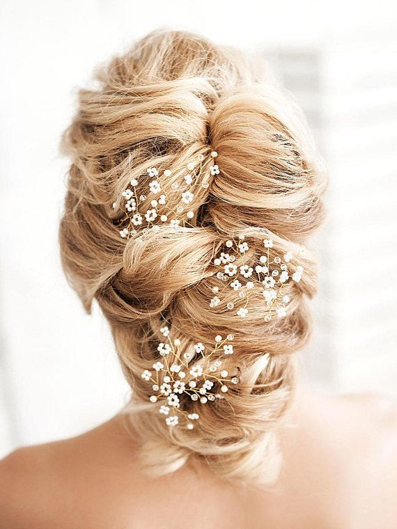 Bridal Hair Piece Babys Breath Headpiece Gypsophila Hair Accessory