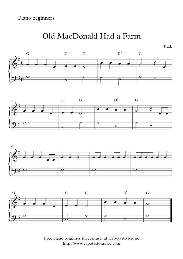 Free Sheet Music Scores Free easy beginner piano sheet music Old MacDonald