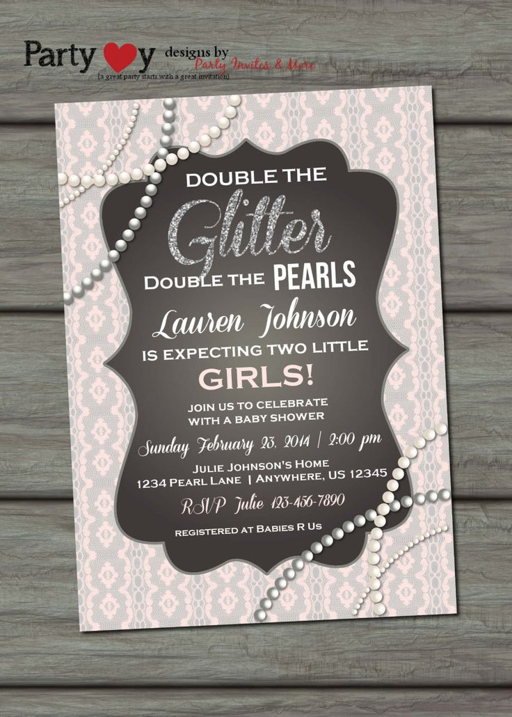 Twins Baby Shower Invitation Glitter Baby by PartyInvitesAndMore, $10.00