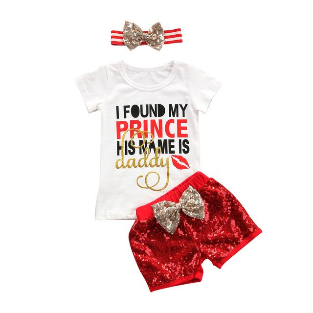 """""""I Found My Prince His Name is Daddy"""" Little Girls 3PC Outfit Red Sequin Shorts Matching Headband #photooftheday #thelittlegirlsstore #beautiful #babyfashion #fashion #follow #instadaily #summer #instacool #little #girl #girls #clothes #cute #fun #followme #sun #baby #instagram #cool"""