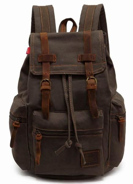 This rugged looking rucksack backpack also has its softer side, the back and the handle. Other than that it is a very masculine accessory to keep all your items