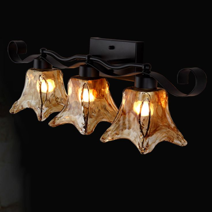 Royal 3 Heads Art Decor Loft Country Wall Sconce Strip Amber Glass Retro Wall Light Art Fixture Lighting for Bar Cafe Aisle E27 #Affiliate