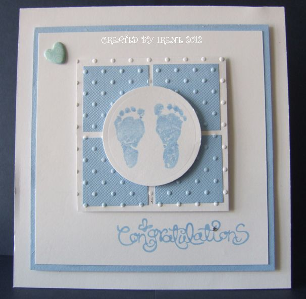 handmade baby card ... white & baby blue ... cute design ... inchie four square under circle with baby feet stamp ... sweet!!