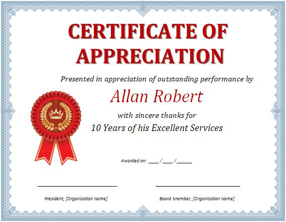 Image result for appreciation certificate