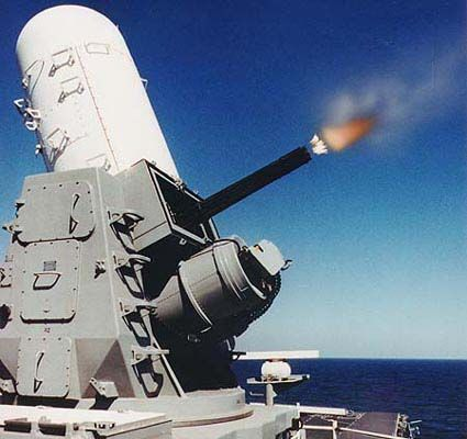 Phalanx CIWS, a 20mm mini gun that shoots down missiles, sweet