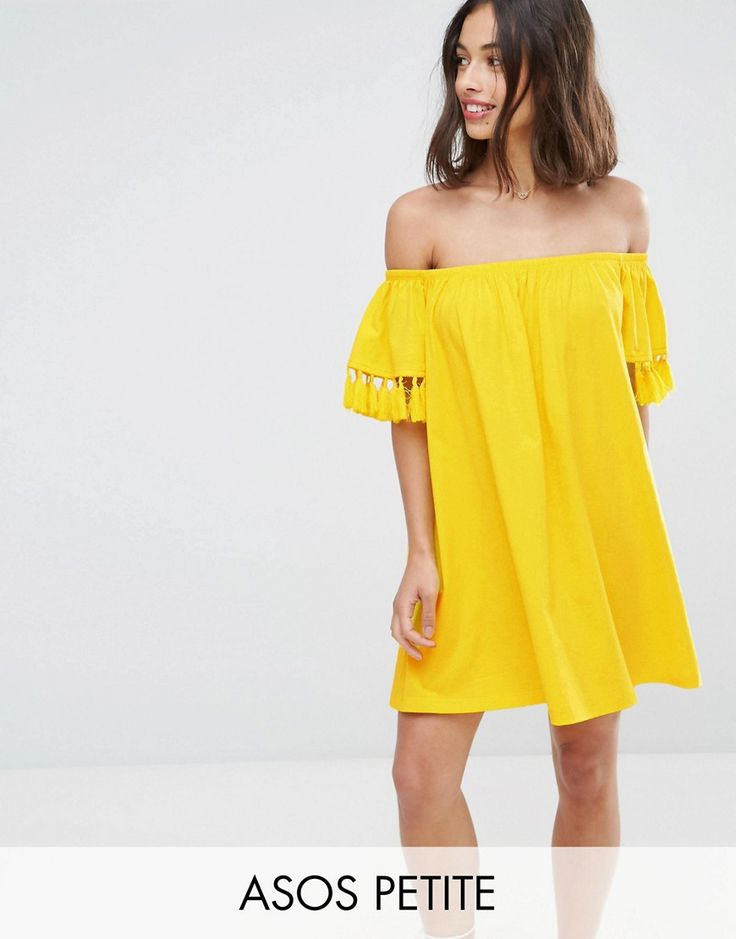Buy it now. ASOS PETITE Off Shoulder Sundress with Tassel Detail - Yellow. Petite dress by ASOS PETITE, Lightweight cotton, Stretch Bardot neck, Short sleeves, Tassel trims, Regular fit - true to size, Machine wash, 100% Cotton, Our model wears a UK 8/EU 36/US 4 and is 163cm/5'4 tall, Mini dress length between: 85-87cm. 5�3�/1.60m and under? The London-based design team behind ASOS PETITE take all your fashion faves and cut them down to size. Say goodbye to all your short-girl problems wi...