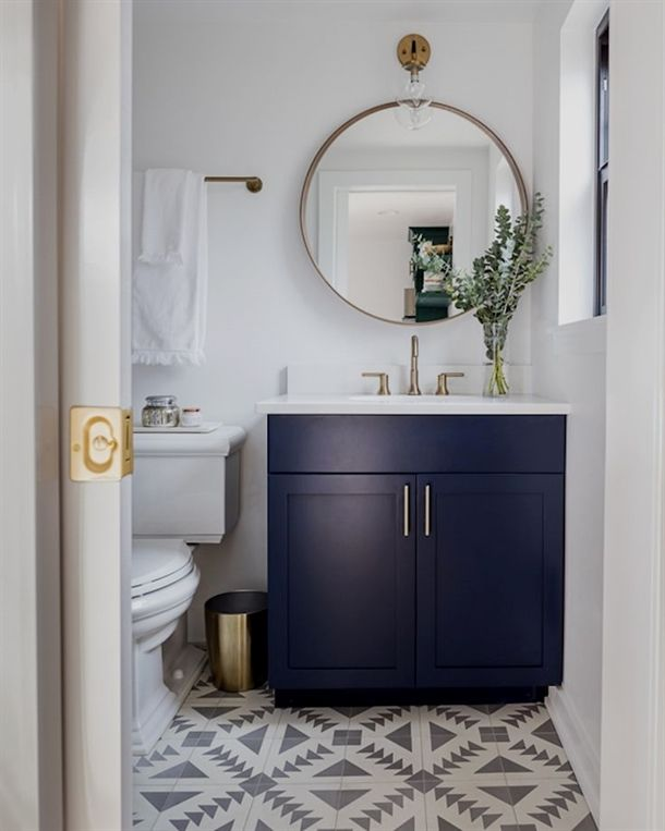 Interior Designer Kimberlee Gorsline Had A Dream To Transform Her 300 Foot Square 27 Metre Square T Blue Bathroom Vanity Powder Room Vanity Bathroom Interior