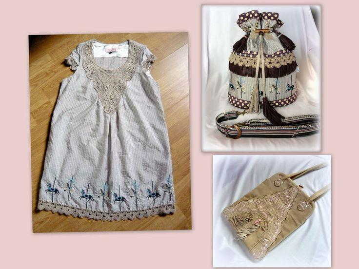 Körhinta táska - handmade by Judy Majoros - ...és íme a ruha, ami két táska alapjául is szolgált