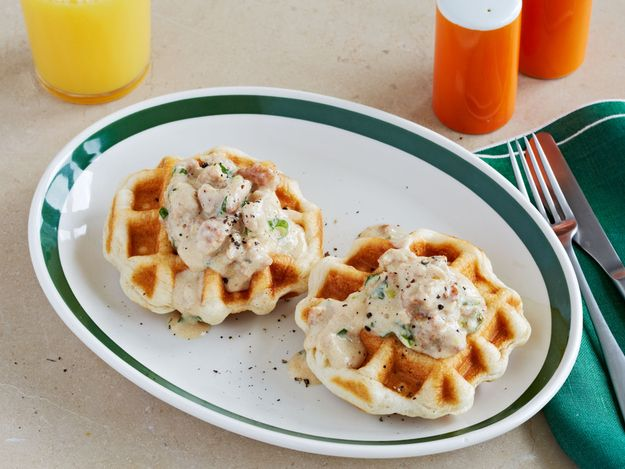 Waffled Biscuits and Sausage Gravy / 12 Surprising Foods You Can Make In A Waffle Iron (via BuzzFeed)