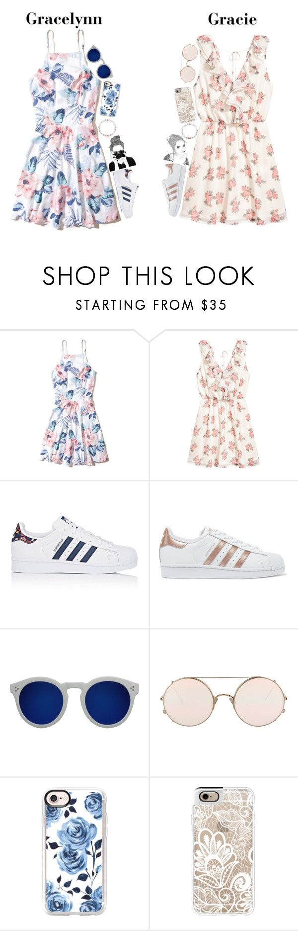 """""""Day trip with meh best frannnn💕"""" by graciegirl2015 ❤ liked on Polyvore featuring Hollister Co., adidas, adidas Originals, Illesteva, Sunday Somewhere and Casetify"""
