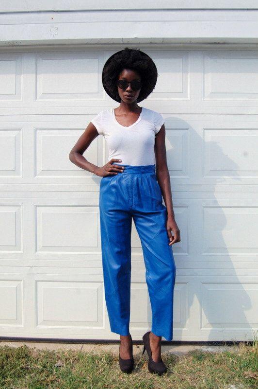 Pantalon de cuir bleu cobalt 80 s années 80 par NighthawksVintage