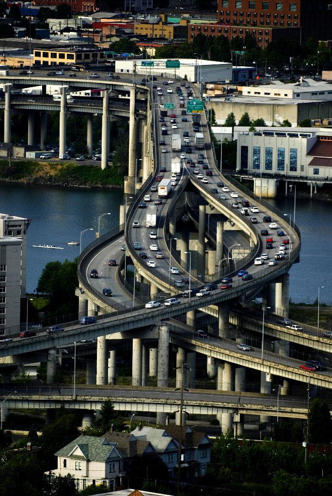 The Marquam Bridge in Oregon, United States