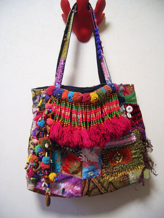 Upcycled Bohemian Patchwork Tote bag van ApricotCircus op Etsy, $200,00