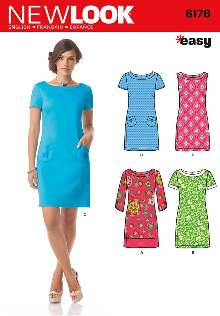 Above knee high A line dress with multiple sleeve options - New Look pattern