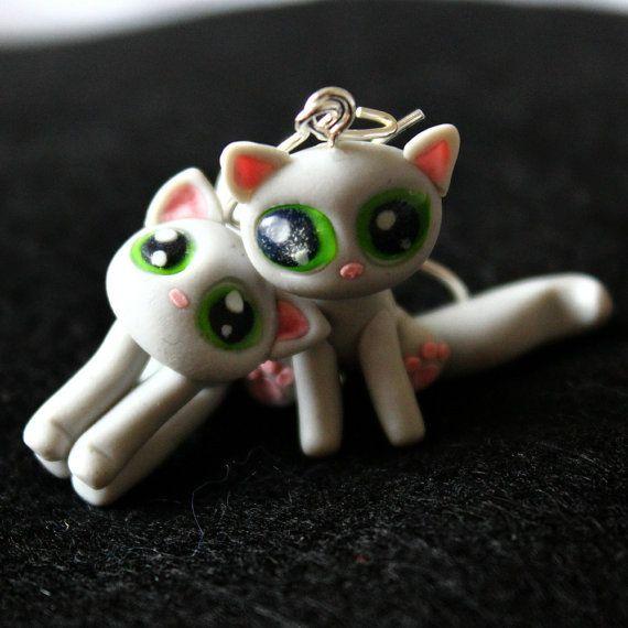 Cute cat earrings polymer clay