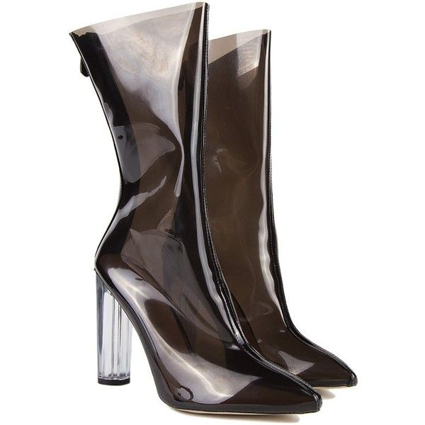Vinyl Booties To Rock At Any Occasion ($60) ❤ liked on Polyvore featuring shoes, boots, ankle booties, pointy toe booties, pointed toe boots, vinyl boots, zipper booties and pointed toe booties