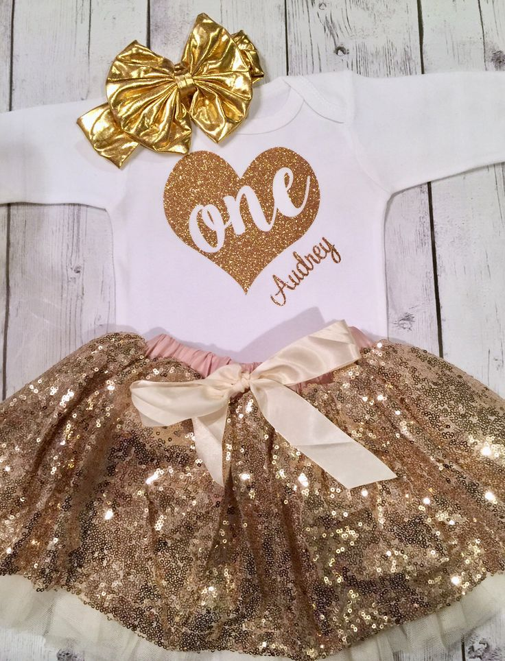 Baby Girl First Birthday Outfit, Girls 2nd Birthday Outfit, First Birthday Outfit Girl, Second Birthday Outfit Set, Gold Tutu, 1st Birthday by TheMonogrammedPrep on Etsy https://www.etsy.com/listing/473554120/baby-girl-first-birthday-outfit-girls