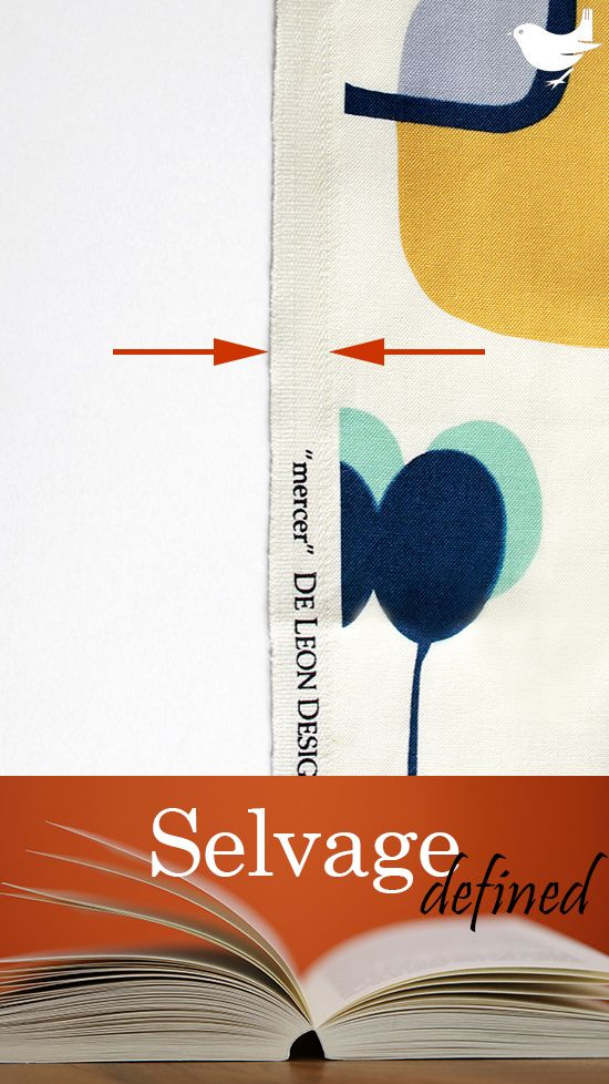 Selvage (Selvedge):  The self-finished, uncut edge of a piece of fabric; will not fray. A result of fabric manufacturing, these parallel edges are typically visibly and texturally different from the regular weave of the fabric and may contain written information identifying the fabric and/or ink color tests. [US English (British English)] | The Inspired Wren