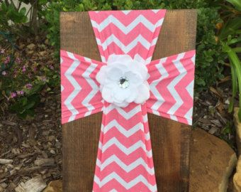 Red and White Chevron Fabric Cross Decorative by FabricCrossDecor