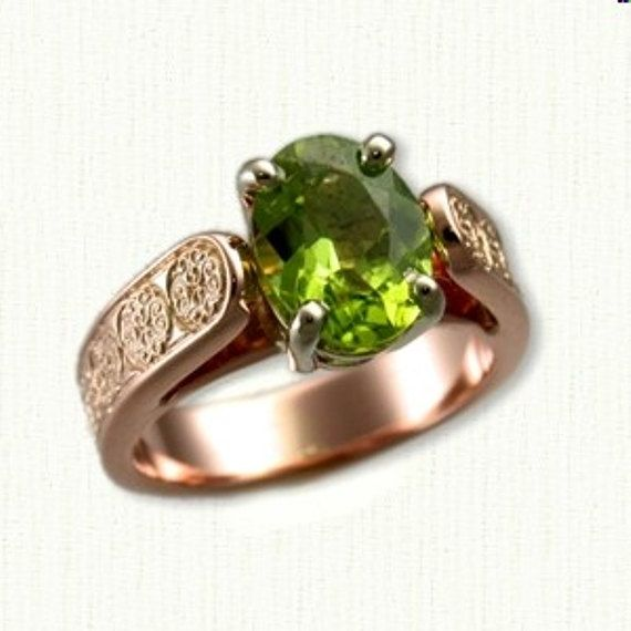 14kt Rose Gold Celtic Brentford Knot Bridget Style Engagement Ring set with a 9 x 7 mm Oval Arizona Peridot AA Grade This is a beautiful ring with such great contrast of color. We can make the ring in any size with this style. Please email with any questions - Thanks for looking.