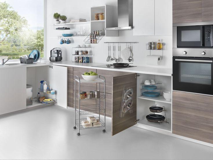 Keukenrekken voor pannen, pannendeksels, kruiden, koffiemokken, keukenrol, afdruiprekken, trolleys!