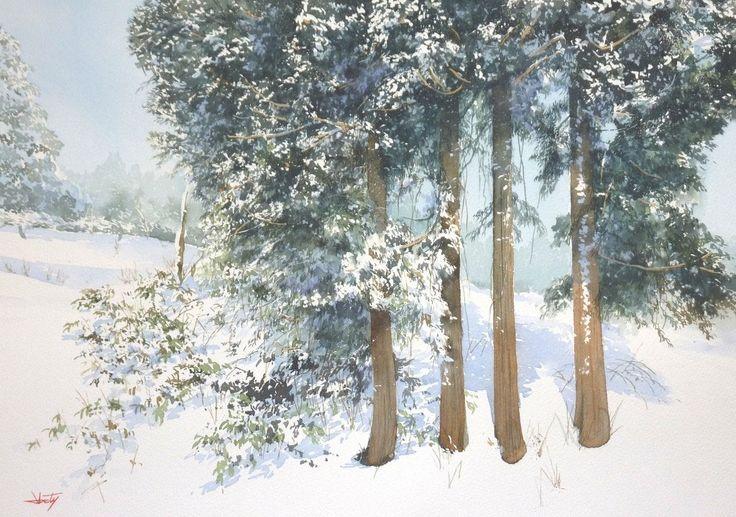 "Yokohama Exhibition 2015 - Abe Toshiyuki ""Winter grove"" watercolor on waterford 30 x 42 cm, 2015"