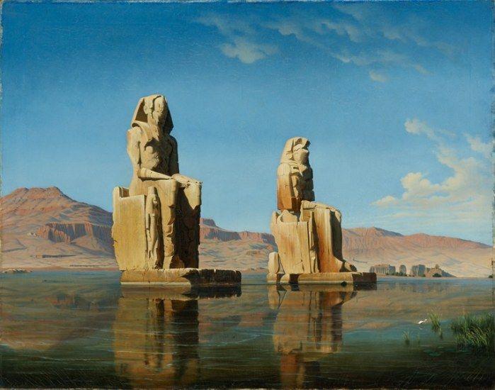 'The Colossi of Memnon During the Annual Flooding' - Hubert Sattler ilustra en 1846 a los Colosos de Memnón durante la inundación anual frente a la ciudad egipcia de Luxor