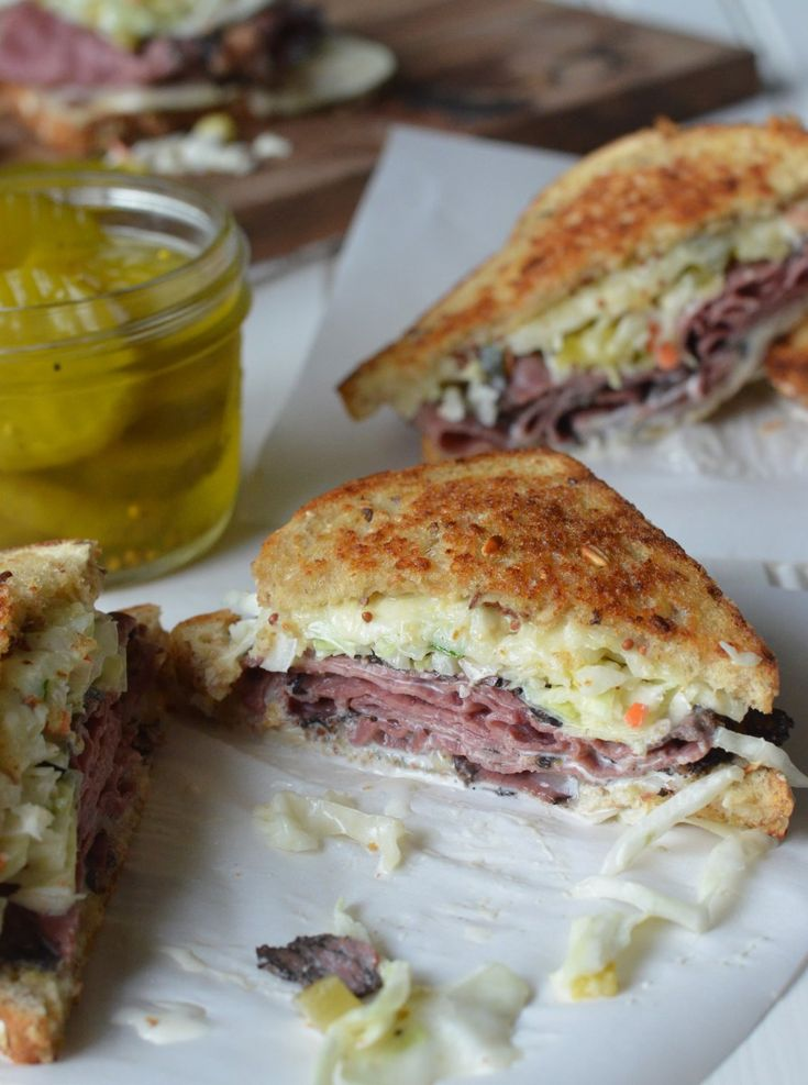 Hot pastrami sandwiches with sweet pickle slaw from Momma Z's Kitchen!
