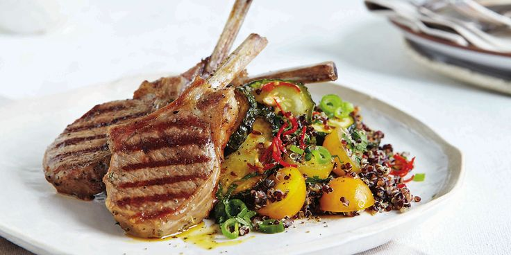 This zucchini + black quinoa salad taste great with perfectly backed lamb cutlets.