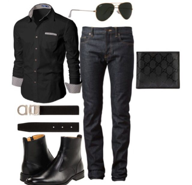 Black jeans, button down, belt and boots (but I wouldn't wear the boots)- http://www.zeusfactor.com