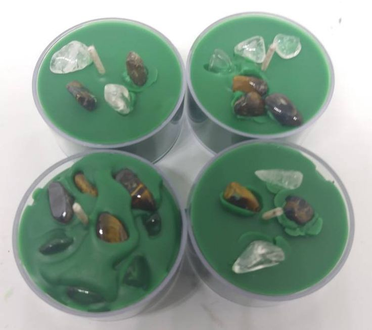 Green Crystal Abundance Candles – Wiccan Candle – Crystal Candles – Spell Candles – Money Spell candles – Green Candles -Green Tea Lights