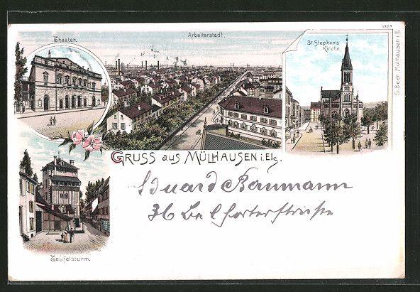 carte postale ancienne: Lithographie Mülhausen, Arbeiterstadt aérienne, Theater, Teufelsturm & St. Stephanskirche