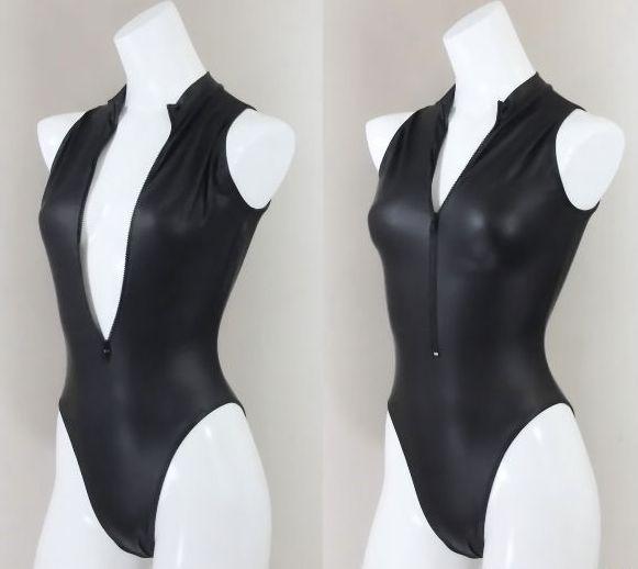 Rubberized Swimsuit Front Zipper Ladies Matte Black C552