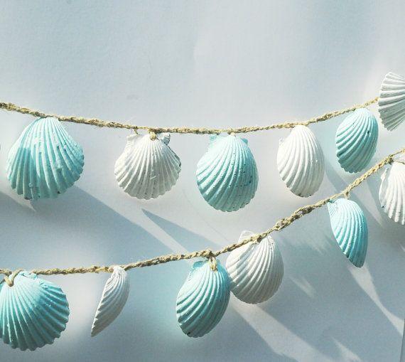 Seashell Garland, Strand-Hochzeits-Dekorationen, blau und weiß Sea Shell Hochzeit Bunting, Shabby Chic Beach Home Decor
