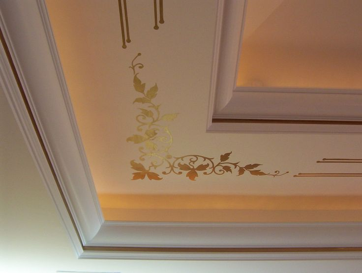 See The Limitless Beauty Of Your Ceiling By Gypsum Ceiling Design Ideas :  Artistic Pop Gypsum Ceiling Design: White Gypsum Ceiling With Goldy Plants  Batic ...