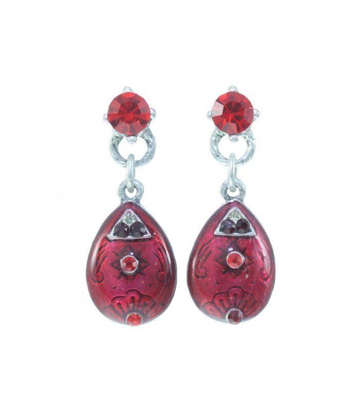 Mooie rode oorbellen met strass steentjes | Lengte van de oorbel is circa 3,5 cm | Rode oorbellen | EAN: 0000038600043