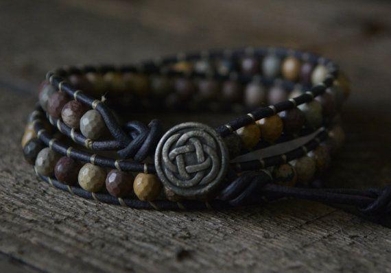 Tribe Warrior- Mens Bracelet, Men Yoga Jewelry, Tibetan Jewelry, Chakra Bracelet Jasper Earthy Bracelet, Men Stone Leather Wrap on Etsy, $41.00