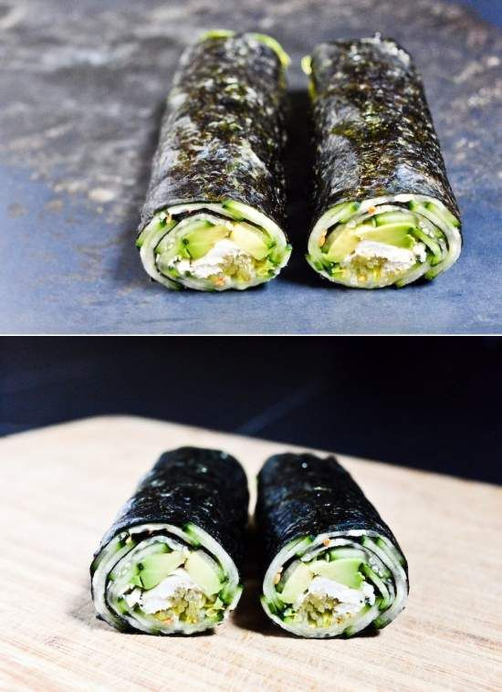 Quick Nori Roll with Cucumber and Avocado Recipe - avocado, chicken, cucumber, fish, healthy, recipes, seaweed, tofu