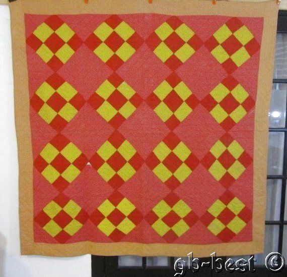"""Farm Fresh 1890s Patch Work Antique Quilt Patriotic RED Yellow Pink 72"""" x 72"""""""
