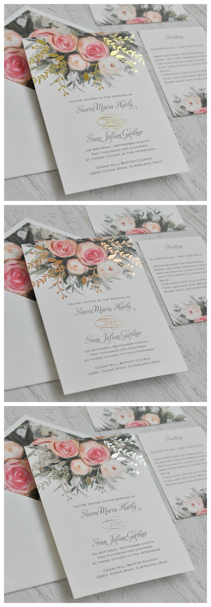 16 best wedding invitations frankie bear designs images on an ethereal illustration of watercolor roses in pink creates the peaceful nature of these beautiful garden wedding invitations your choice of gold monicamarmolfo Image collections