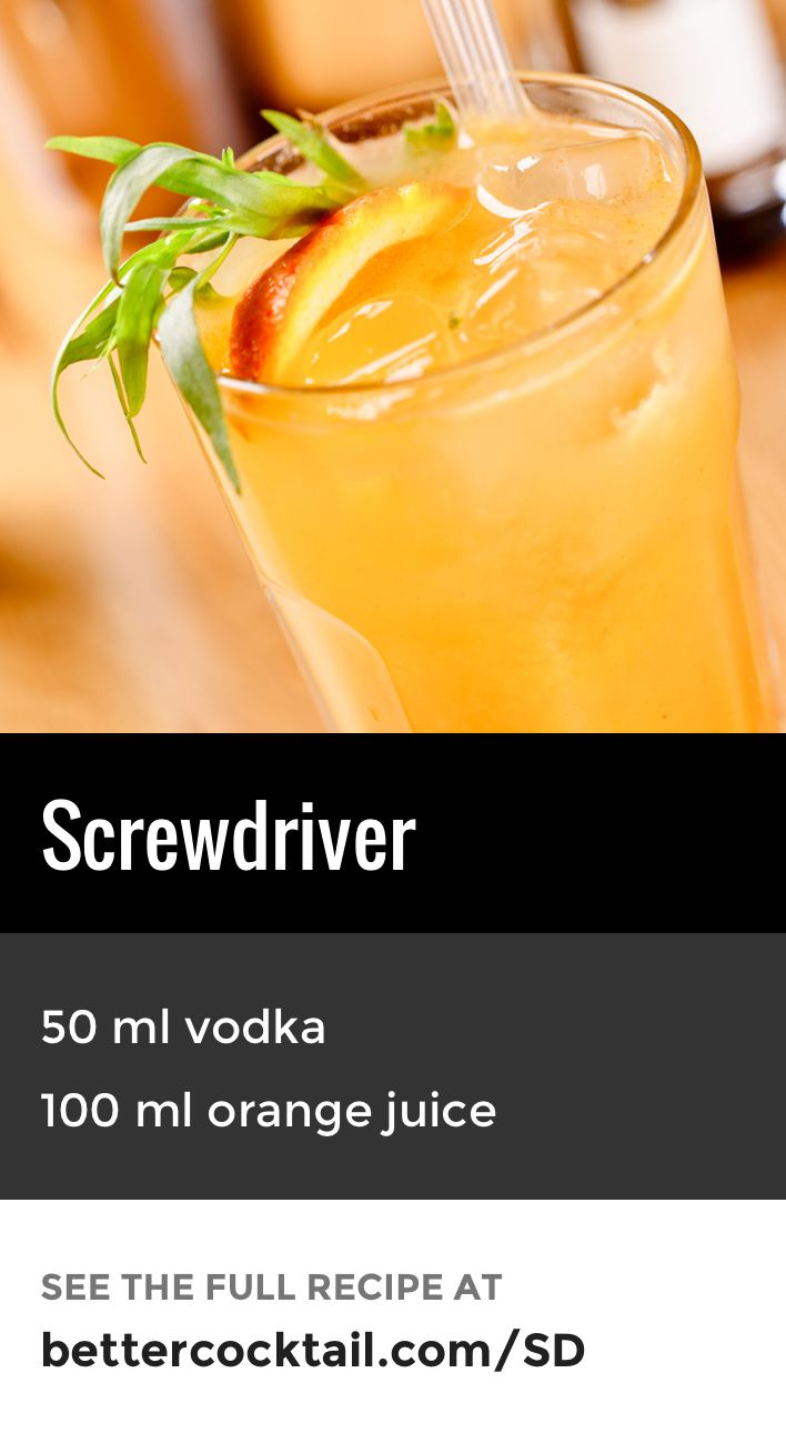 The Screwdriver is one of the most simple, yet popular classics. The drink consists of just two ingredients: vodka and orange juice. Traditionally the drink is served long in a highball glass and garnished with a single orange slice.