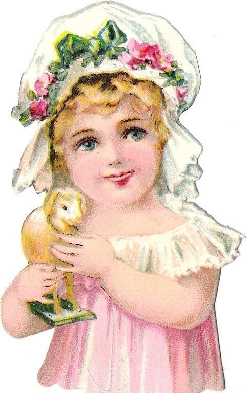 Oblaten Glanzbild scrap die cut chromo Kind child 10cm Lamm lamb fille girl