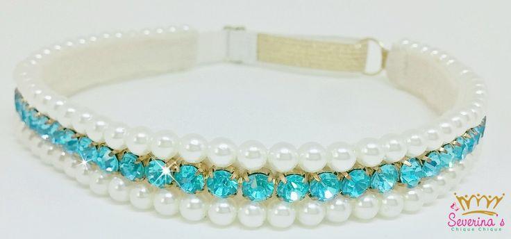 Faixa Tiara de pérolas e strass azuis
