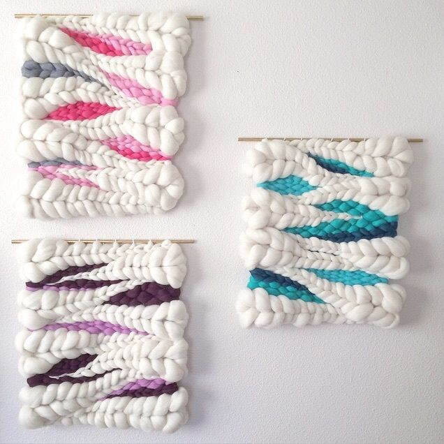 Woven wool wall hanging trio // weaving by Jeannie Helzer @jeanniemakes