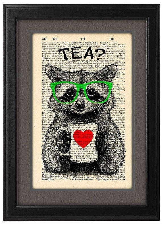 Illustrazione, ora del tè di procione, dizionario stampa, poster d'arte, tazza di tè, pagine del libro, dormitorio decorazione, regalo poster, decorazione della parete, codice/172
