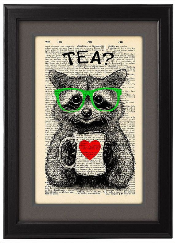 Illustration raton laveur tea time dictionnaire par Natalprint                                                                                                                                                                                 Plus