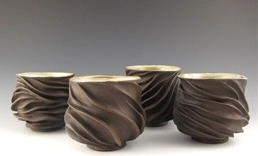 Judi Tavill Ceramics Chocolate Brown Handmade Tea Bowls: set of 4 modern dinnerware