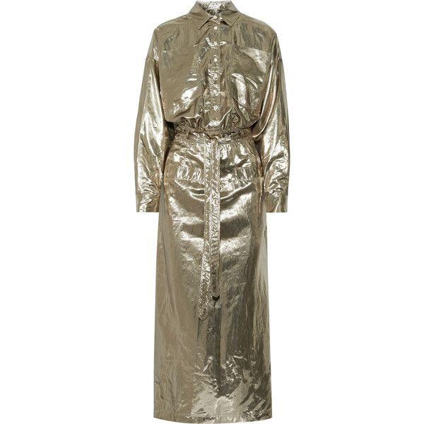 Attico Amina metallic silk-blend lamé midi dress ($2,395) ❤ liked on Polyvore featuring dresses, gold, long loose dresses, brown midi dress, tie belt, metallic dresses and mid calf dresses